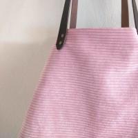 Bolso castaña de pana rosa