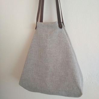 Bolso castaña seizal gris perla con bolsillo