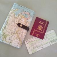 Portadocumentos mapamundi (interior rosa)